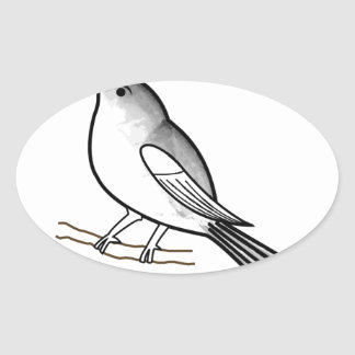 Pájaro dibujado mano en una ramita pegatina ovalada