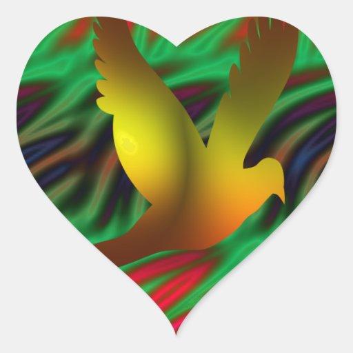 pájaro digital calcomanías corazones personalizadas