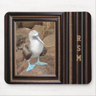 Pájaro divertido con monograma alfombrilla de ratones