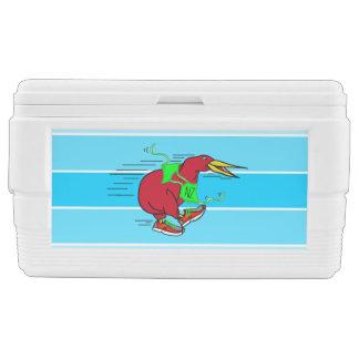 Pájaro divertido del kiwi del dibujo animado que cofre de hielo