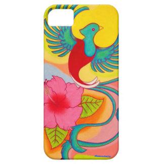 Pájaro e hibisco de quetzal funda para iPhone SE/5/5s