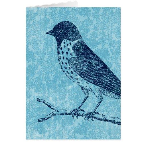 Pájaro en azul de la rama tarjeta de felicitación