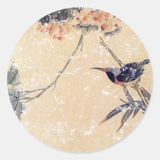 Pájaro en bambú pegatina redonda