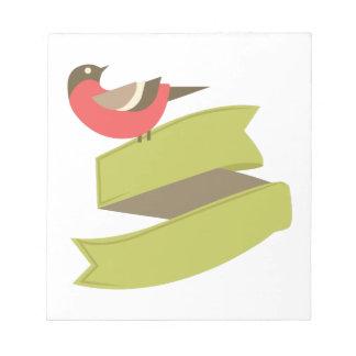 Pájaro en bandera bloc de papel