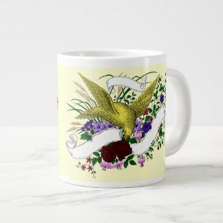 Pájaro en el ramo (a todo color) taza grande