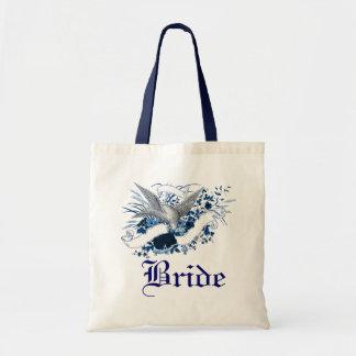 Pájaro en el ramo (azul) bolsa lienzo