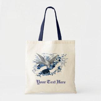 Pájaro en el ramo (azul) bolsa