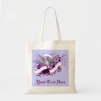 Pájaro en el ramo (púrpura) bolsa lienzo