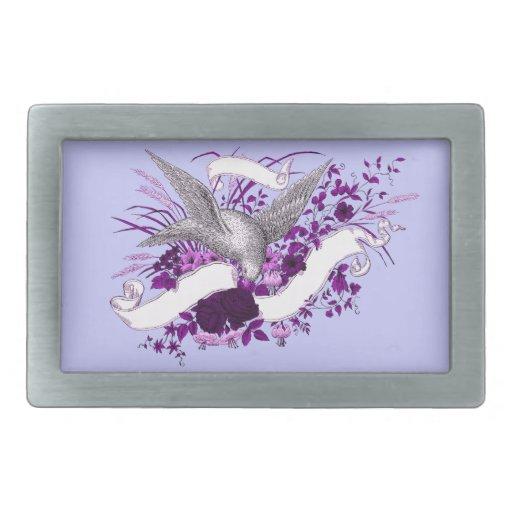 Pájaro en el ramo (púrpura) hebillas de cinturon rectangulares