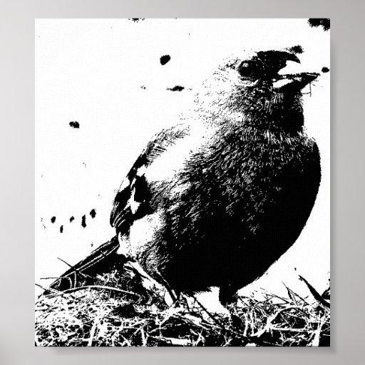 Pájaro en hierba posters