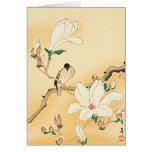 Pájaro en la impresión de Woodblock del japonés de Tarjeton