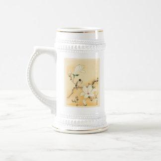 Pájaro en la impresión de Woodblock del japonés Jarra De Cerveza