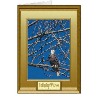Pájaro en ramas desnudas tarjeta de felicitación
