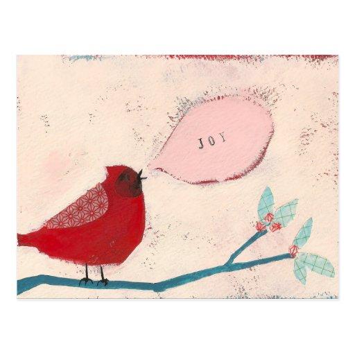 pájaro en tarjeta de la rama postal