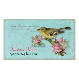 Pájaro en tarjetas de visita rosadas de los rosas
