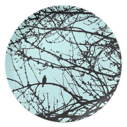 Pájaro en un arce - azul plato de cena