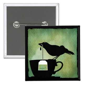 Pájaro en un botón de la taza de té pins