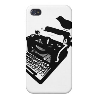 Pájaro en un caso del iPhone de la máquina de escr iPhone 4 Cárcasa