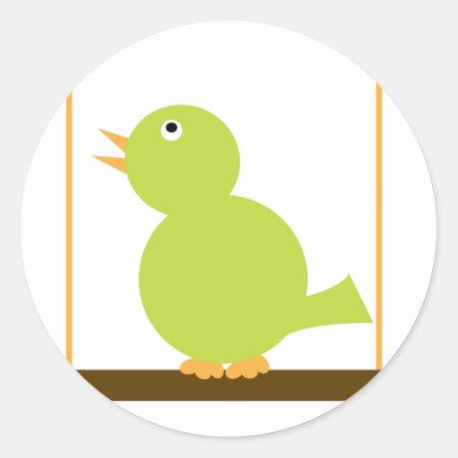 Pájaro en un pegatina de la perca