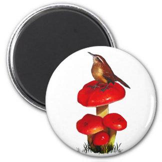 Pájaro en un Toadstool: Arte en colores pastel ori Imán Redondo 5 Cm