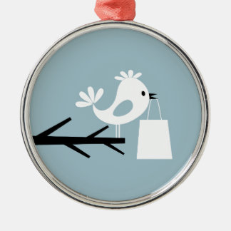Pájaro en un tree2 adorno navideño redondo de metal
