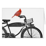 Pájaro en una bici felicitaciones