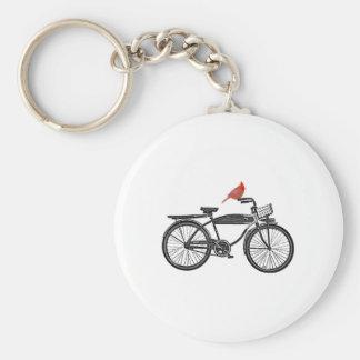 Pájaro en una bici llavero redondo tipo pin