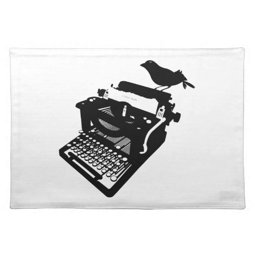 Pájaro en una máquina de escribir Placemat Mantel