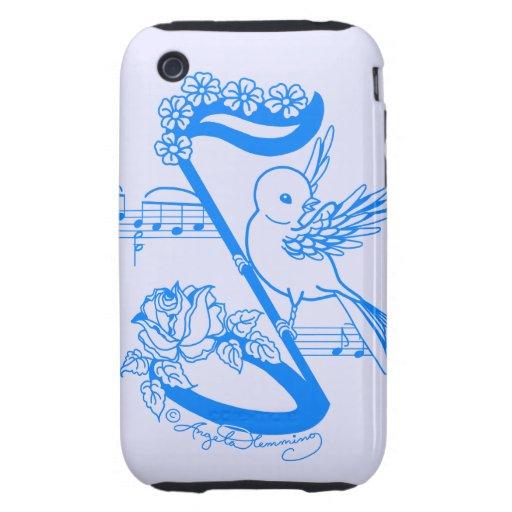 Pájaro en una nota musical con las flores iPhone 3 tough funda