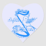 Pájaro en una nota musical con las flores calcomanías corazones personalizadas
