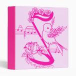 Pájaro en una nota musical con rosa de las flores