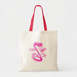 Pájaro en una nota musical con rosa de las flores bolsa lienzo