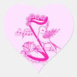 Pájaro en una nota musical con rosa de las flores calcomanía de corazón
