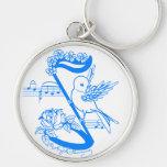 Pájaro en una nota musical llaveros personalizados