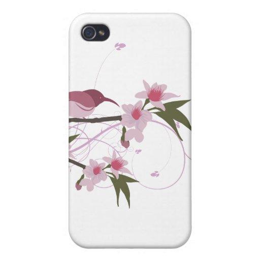 pájaro en una rama de árbol con las flores 2 iPhone 4/4S carcasas