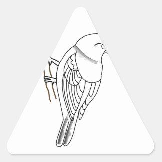 pájaro en una ramita pegatinas de triangulo personalizadas