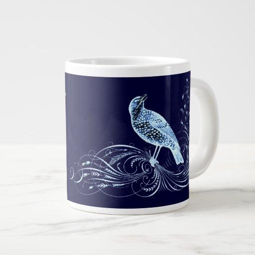 Pájaro en una voluta (azul) taza extra grande