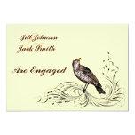 Pájaro en una voluta (Brown) Invitación 12,7 X 17,8 Cm