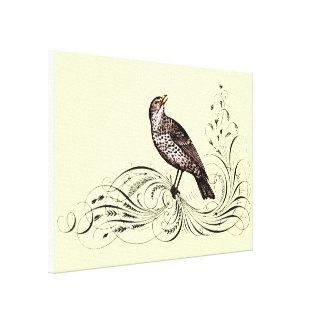 Pájaro en una voluta (Brown) Impresión En Lienzo Estirada