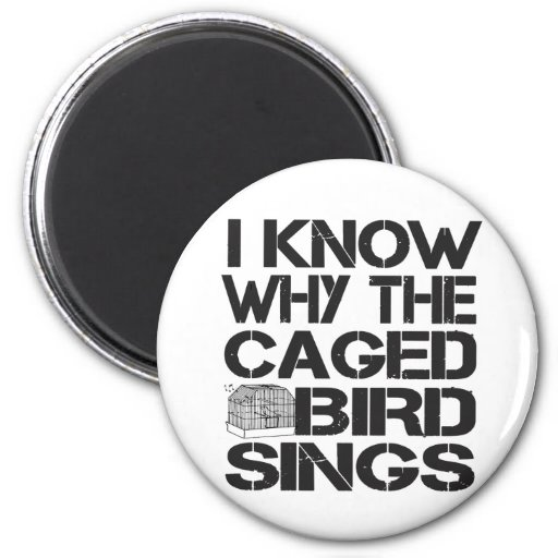 Pájaro enjaulado imán redondo 5 cm