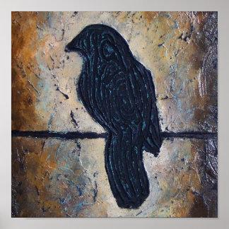 Pájaro esculpido en un alambre poster