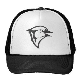 Pájaro feliz del arrendajo azul en blanco y negro gorras de camionero