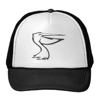 Pájaro feliz del pelícano en blanco y negro gorras de camionero