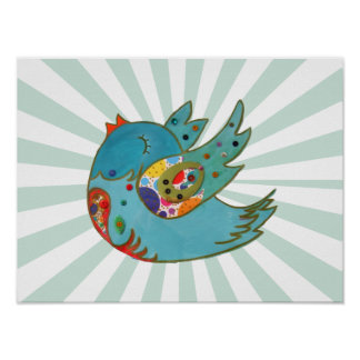 Pájaro feliz lindo póster
