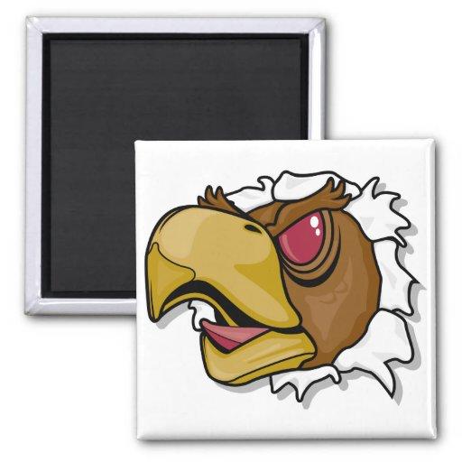 pájaro feroz del halcón que se rompe a través imanes