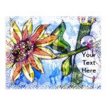 Pájaro, flor y cordón tarjetas postales