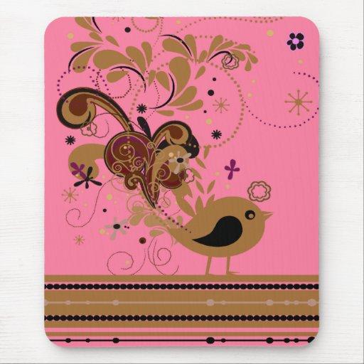 Pájaro floral abstracto Mousepad