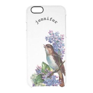 Pájaro floral de las flores de las lilas del funda clearly™ deflector para iPhone 6 de uncommon