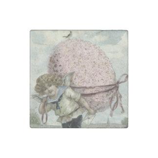 Pájaro floral de las flores del huevo de Pascua Imán De Piedra
