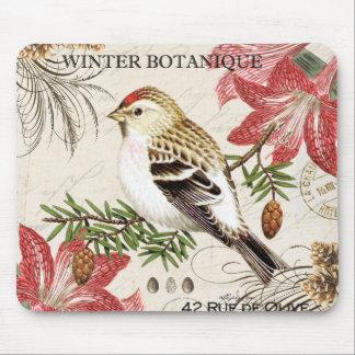 pájaro francés del invierno del vintage moderno tapetes de raton